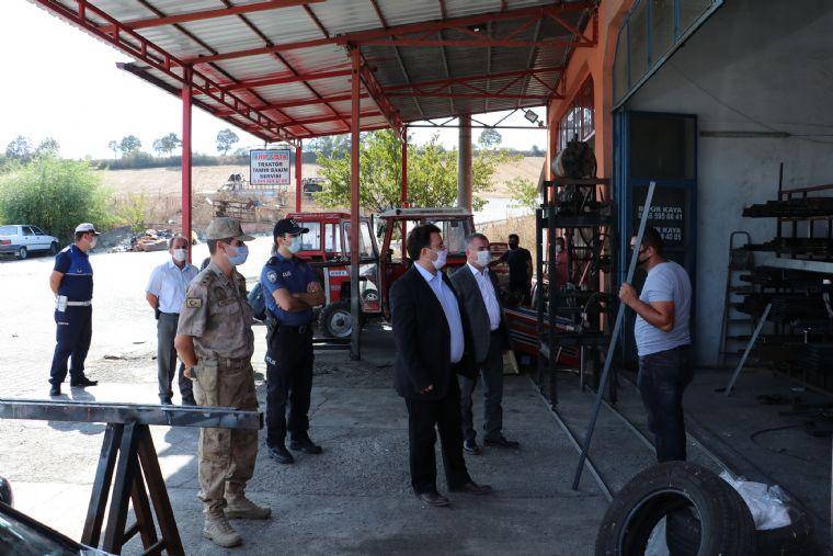 Başkan Özdemir Sanayi Sitesinde Maske Denetimine Katıldı